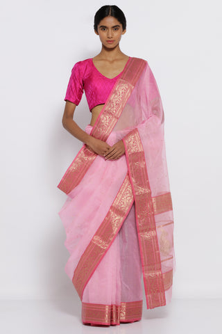 Pale Pink Handloom Pure Silk Chanderi Sheer Saree with All Over Zari Motifs and Rich Zari Border