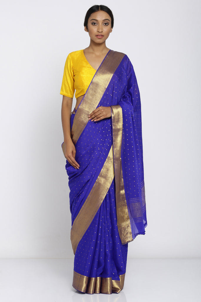Royal Blue Pure Chiffon Saree with All Over Zari Motif