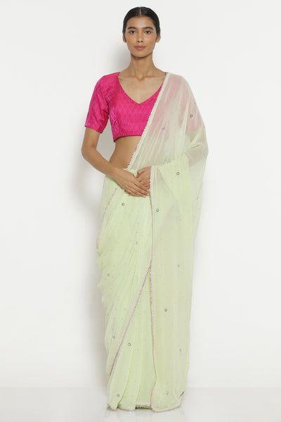 Via East light green pure chiffon saree with all over traditional mukaish work and gota patti edging