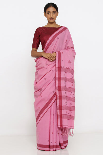 Via East pink handloom pure cotton saree with traditional sujini embroidery and detailed pallu