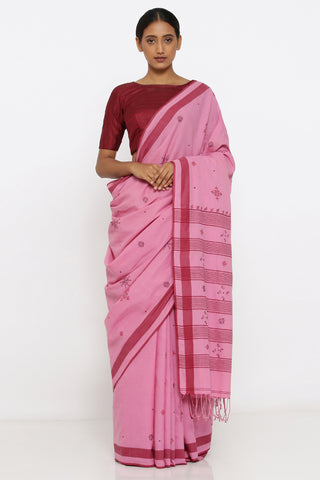 Pink Handloom Pure Cotton Saree with Traditional Sujini Embroidery and Detailed Pallu