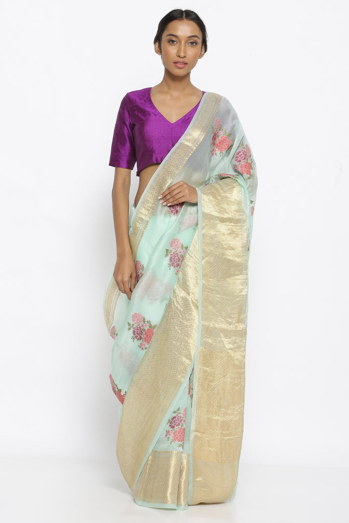 Pale Green Pure Silk Organza Sheer Saree with All Over Floral Embroidery and Striking Woven Gold Border
