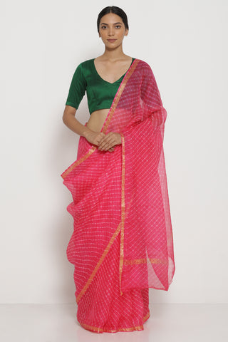 Bright Pink Pure Silk Kota Saree with Traditional Leheriya Pattern