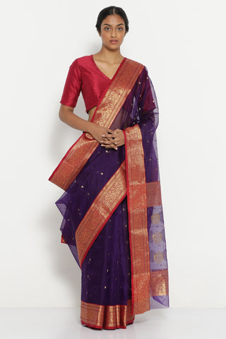 Purple Handloom Pure Silk Chanderi Sheer Saree with All Over Zari Motif