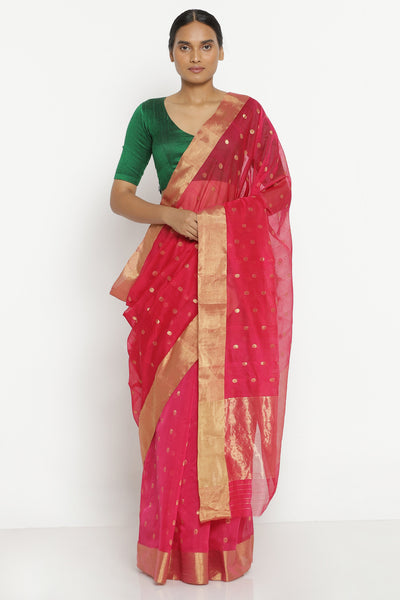 Via East pink handloom pure silk cotton chanderi saree with all over gold motifs