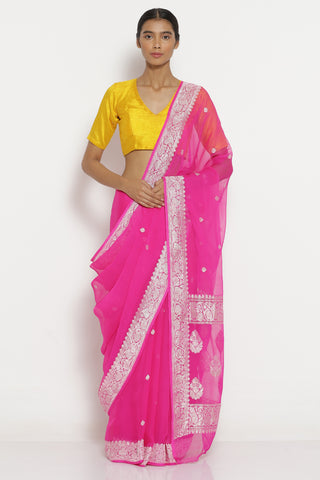 Pink Handloom Pure Chiffon Banarasi Saree with All Over Silver Zari Motifs