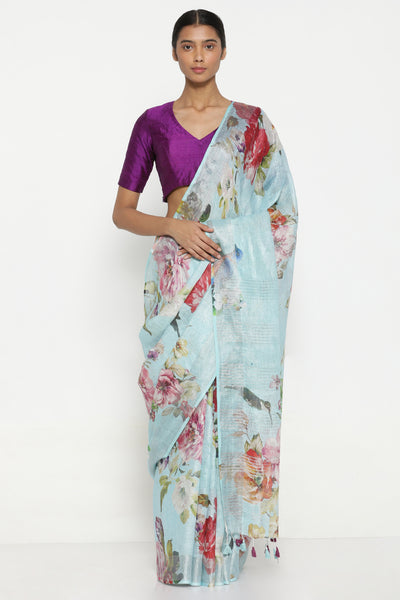 Via East sky blue pure linen saree with all over floral print and silver tissue border