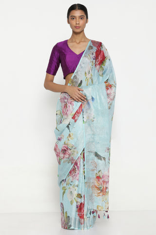 Sky Blue Pure Linen Saree with All Over Floral Print and Silver Tissue Border