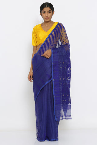 Ink Blue Jamdani Saree with Self Weave Motif and Traditional Border