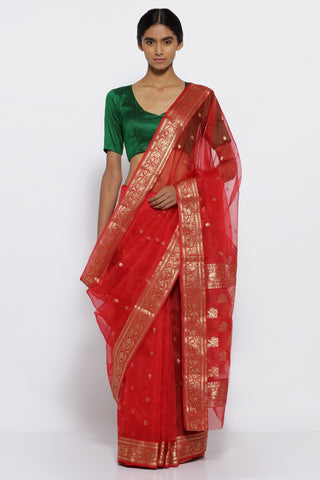 Scarlet Red Handloom Pure Silk Chanderi Sheer Saree with All Over Zari Motifs and Rich Zari Border