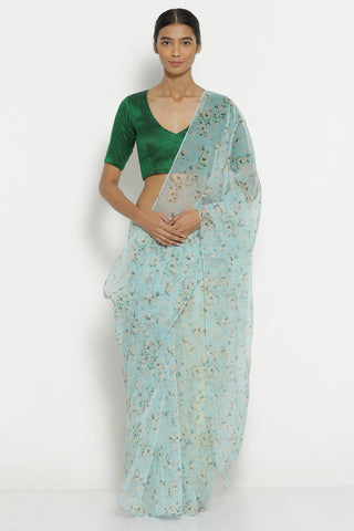 Sky Blue Organza Sheer Saree with All Over Floral Print
