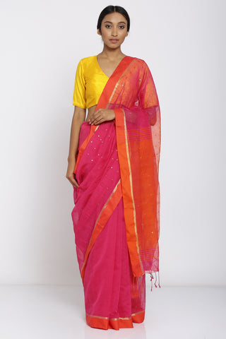 Pink Handloom Pure Cotton Saree with All Over Sequin Work and Orange Border