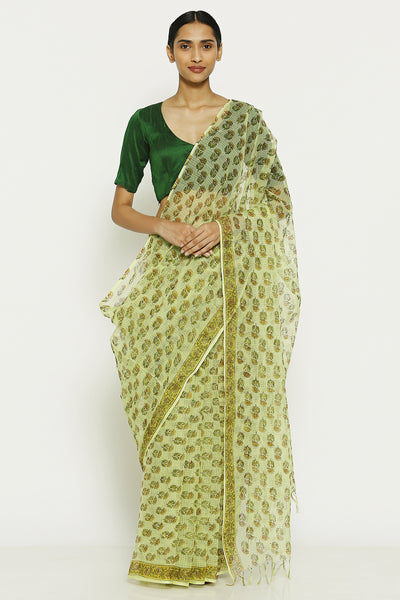 Via East mint green handloom pure kota cotton saree with traditional sanganeri print