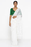 Pearl White Dhakai Jamdani Saree with Gold Self Weave Motif and Paisley Border