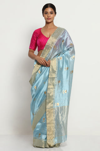 Ocean Blue Handloom Pure Silk Chanderi Saree with All Over Motifs and Rich Gold Zari Border