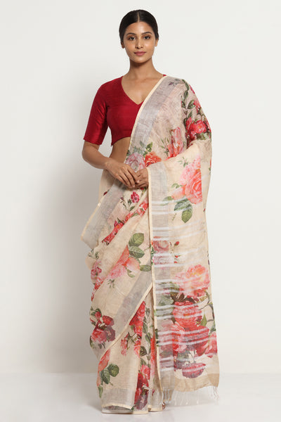 Via East dull beige pure linen saree with all over floral print and silver zari border