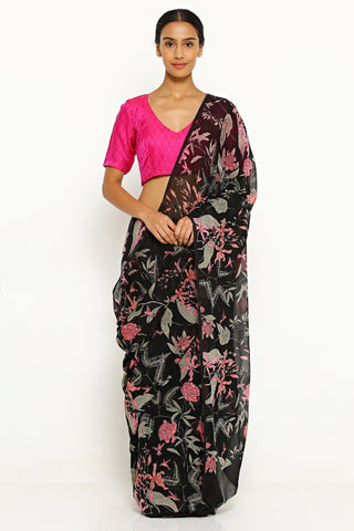 Black Pure Wrinkled Chiffon Saree with All Over Botanical Print