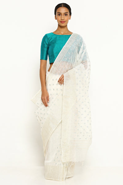 Via East off white pure linen silk saree with all over embroidery