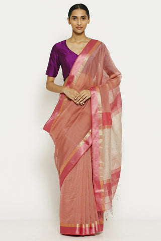 Amaranth Pink Handloom Pure Cotton Tissue Maheshwari Saree with All Over Striped Pattern