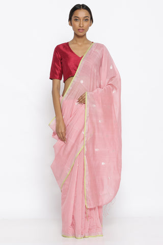 Blush Pink Handloom Pure Silk Cotton Saree with with All Over Silver Motif and Decorated Pallu