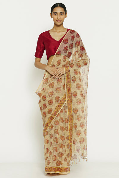Via East dusty brown handloom pure kota cotton saree with traditional sanganeri print