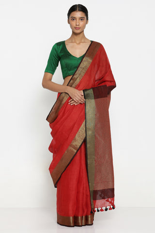 Deep Red Handloom Pure Linen Saree with Gold Zari Border and Contrasting Pallu