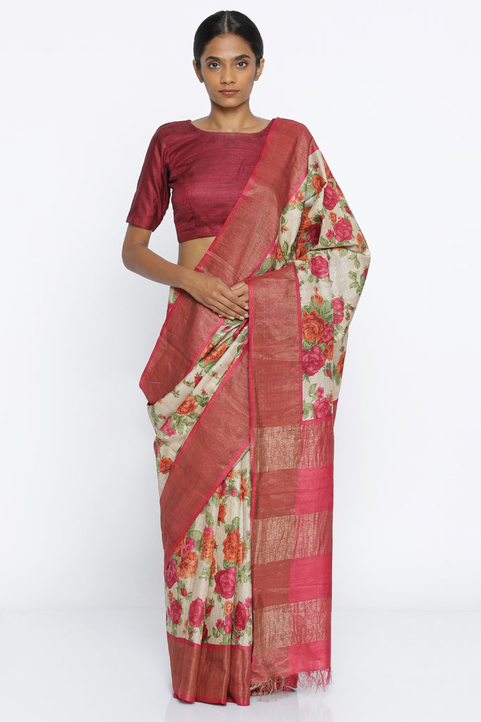 Beige Handloom Pure Tussar Silk Saree with All Over Digital Floral Print