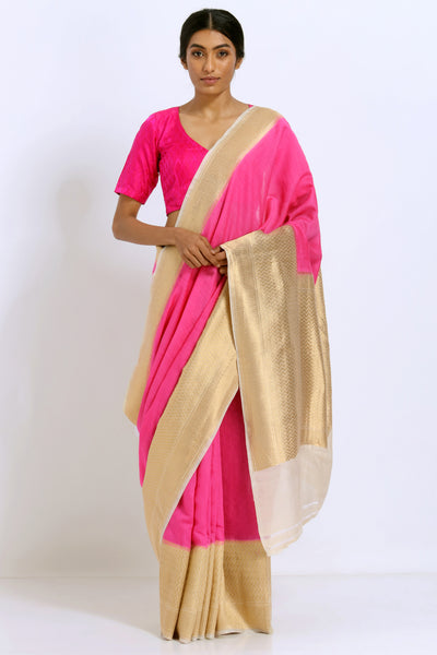Via East rose pink handloom pure silk saree with rich gold zari border and pallu
