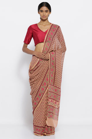 Brown Pure Chiffon Sarees with All Over Floral Print and Intricate Floral Print