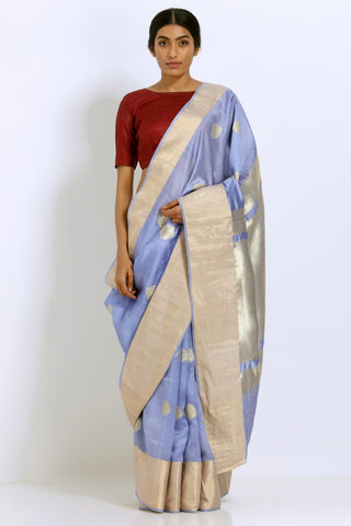 Blue Grey Handloom Pure Tussar Silk Saree with Gold Motifs