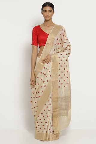 Cream Handloom Pure Tussar Silk Saree with All Over Floral Embroidery