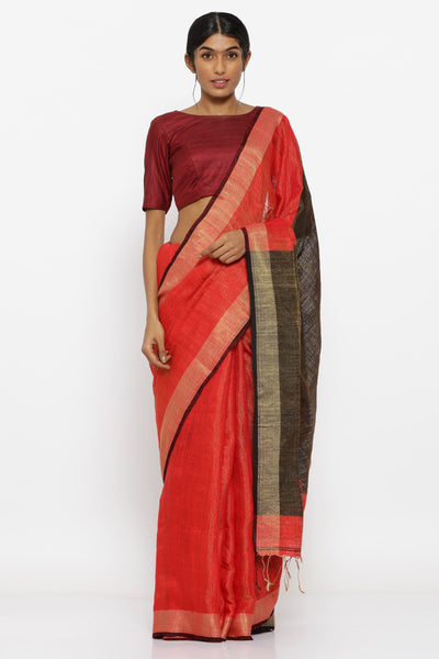 Via East orange handloom pure matka silk tissue saree with brown woven border
