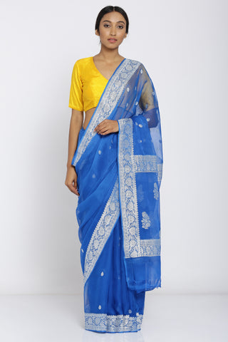Blue Handloom Pure Georgette Banarasi Saree with All Over Zari Motif and Rich Border