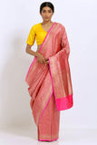 Pink Handloom Pure Silk Banarasi Saree with All Over Handwoven Intricate Zari Work