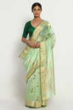 Green Handloom Pure Silk Chanderi Saree with All Over Motifs and Rich Gold Zari Border