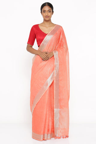 Peach Pure Linen Saree with Silver Zari Border and Woven Pallu