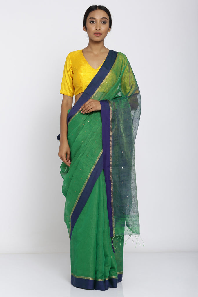 Green Handloom Pure Cotton Saree with All Over Sequin Work and Blue Border