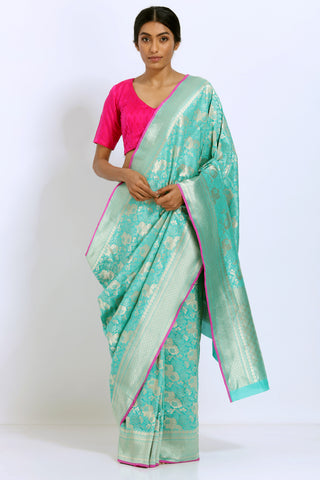 Turquoise Handloom Pure Silk Saree with Allover Handwoven Floral Motif and Rich Pallu