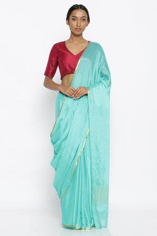 Aqua Blue Pure Crepe Saree with Traditional Mukaish Work and Gold Zari Border