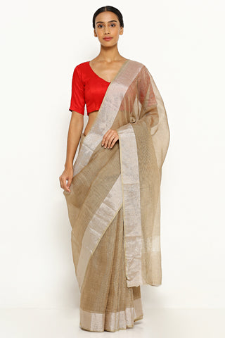 Nutmeg Brown Pure Silk Kota Saree with Silver Zari Border