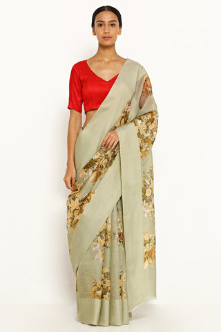 Sage Green Pure Kota Silk Saree with All Over Floral Print