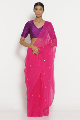 Pink Chiffon Saree with All Over Embellishment