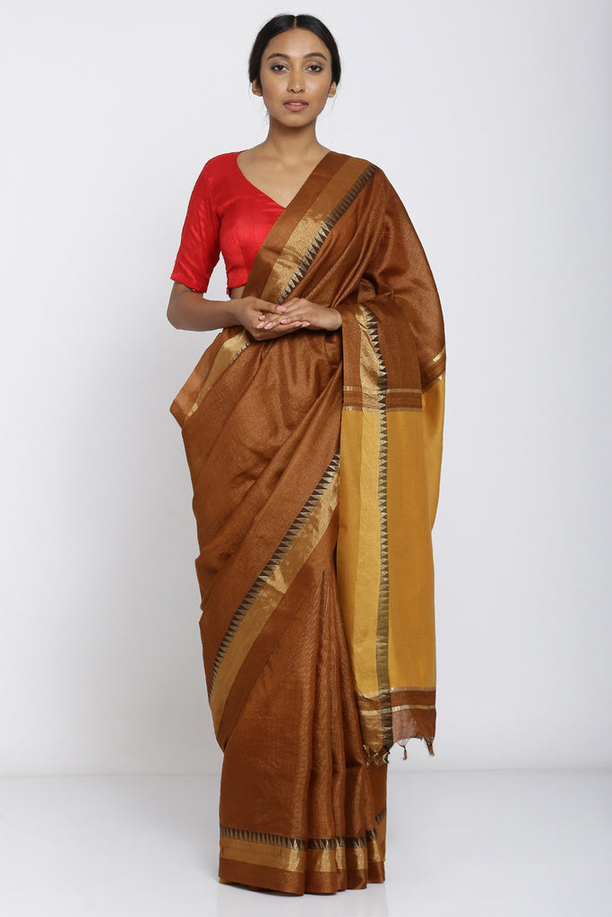Umber Brown Handloom Pure Silk Saree with Temple Border and Rich Pallu