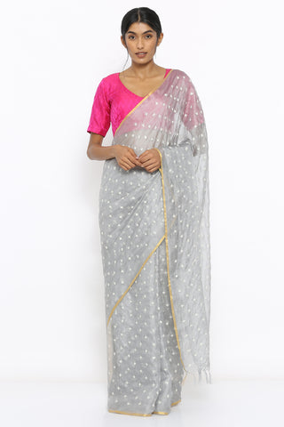 Grey Handloom Kota Silk Saree with Sequin Work and Zari Border