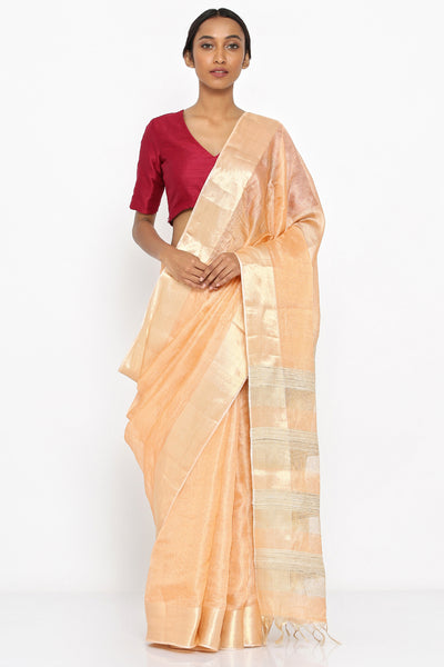 Via East peach handloom tissue saree with gold border