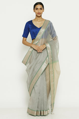 Pearl Grey Handloom Pure Cotton Tissue Maheshwari Saree with All Over Striped Pattern