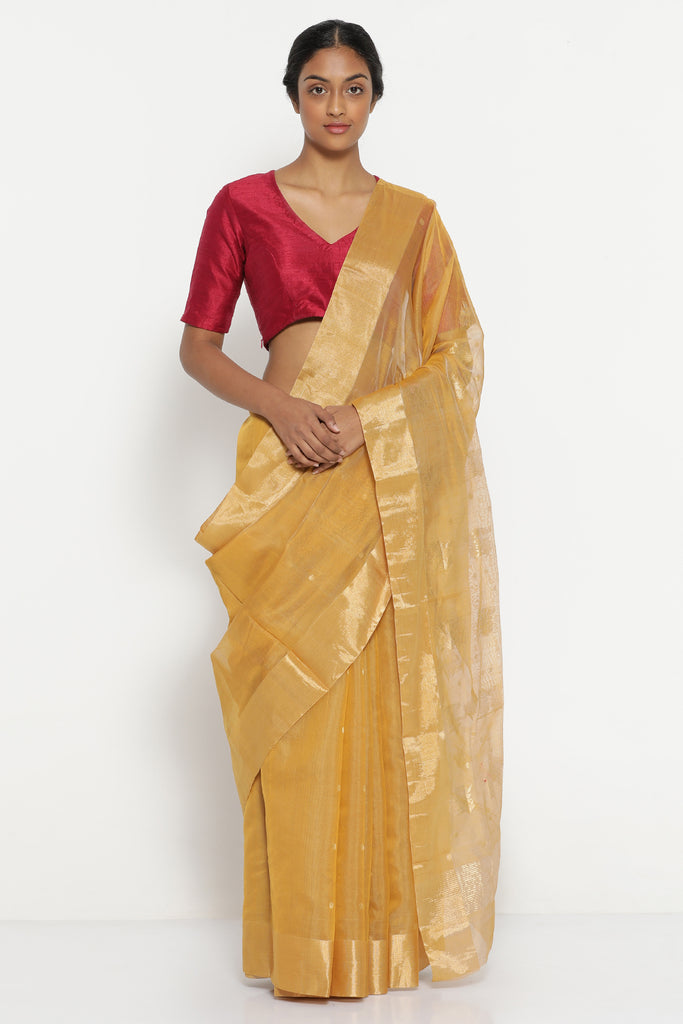 Yellow Handloom Pure Silk Cotton Chanderi Saree with Solid Gold Tissue Border