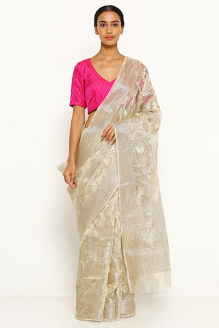 Champagne Gold Tissue Kota Sheer Saree with All Over Floral Motifs