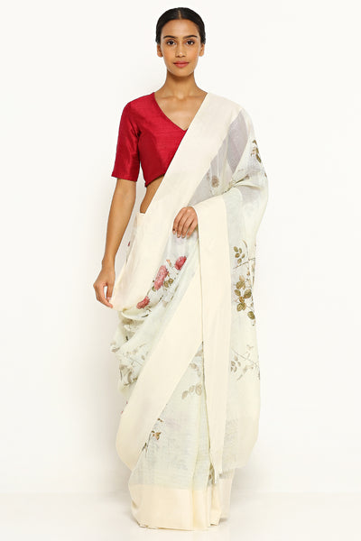 Via East pale green pure kota silk saree with all over floral print