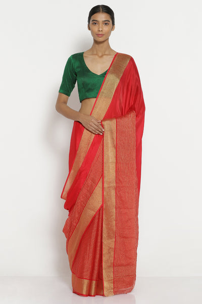 Via East red pure crepe saree with gold zari striped pattern